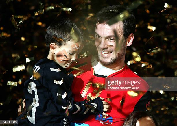 Markus Baur and his son Mika are seen after the Michael Bauer farwell match of the German National Team and Michael Bauers Allstars at the Porsche...