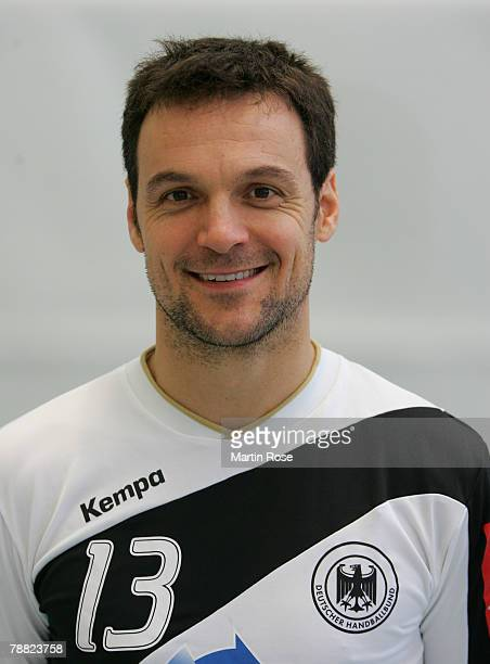 Markus Baur of Germany poses during the photocall of the German Handball National team at Ostseehotel on January 7 2008 in Damp Germany