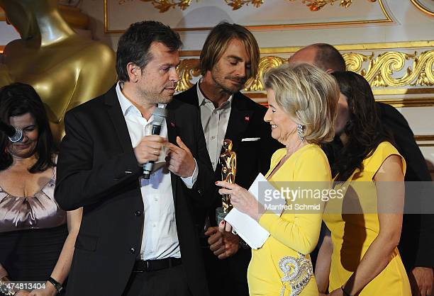 Markus Breitenecker Leo Hillinger and Elisabeth Guertler speak on stage during the ROMY 2015 Academy Award at Hofburg Vienna on April 23 2015 in...