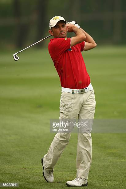 Markus Brier of Austria plays a shot during the 3rd round of the Volvo China Open at the Beijing CBD International Golf Club on April 18, 2009 in...