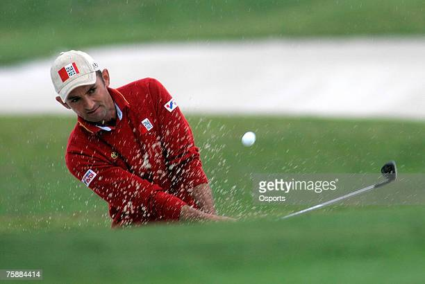 Markus Brier of Austria plays a shot on the 18th hole during the 2007 BMW Asian Open at the Tomson Shanghai Pudong Golf Club in Shanghai, China on...