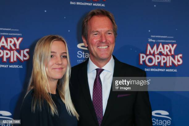 Markus Brock and Cara Brock attend the red carpet at the premiere of the Mary Poppins musical at Stage Apollo Theater on October 23 2016 in Stuttgart...