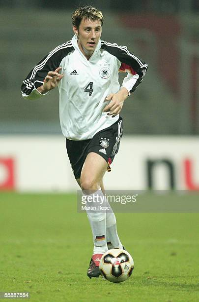 Markus Brzenska of Germany runs with the ball during the Under 21 European Championship Qualifier match between Germany and Wales at the Hamburger...