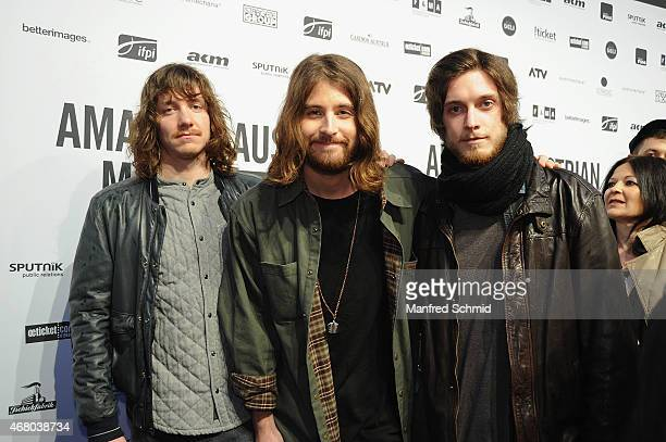 Markus Christ Dominic Muhrer and Florian Meindl of Makemakes pose for a photograph during the Amadeus Austrian Music Awards 2015 at Volkstheater on...