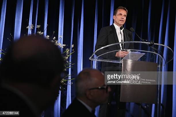 Markus Dohle Penguin Random House CEO speaks onstage at the PEN American Center Literary Gala at American Museum of Natural History on May 5 2015 in...