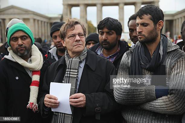 Markus Droege Bishop of the Protestant Church in Germany speaks to the media while standing with refugees on the 8th day of a hunger strike by the...