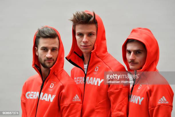 Markus Eisenbichler Andreas Wellinger and Richard Freitag pose for a photo during the 2018 PyeongChang Olympic Games German Team kit handover at...