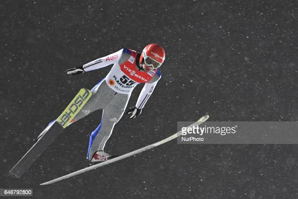Markus Eisenbichler from Germany during Men Large Hill Individual qualification round in ski jumping at FIS Nordic World Ski Championship 2017 in...