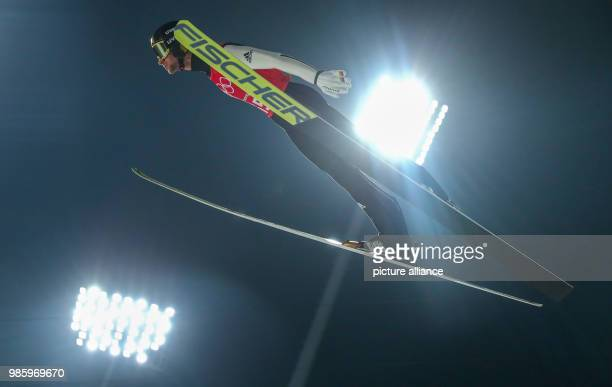 Markus Eisenbichler from Germany during the men's ski jumping event in the Alpensia Ski Jump Centre in Pyeongchang South Korea 14 February 2018 Photo...