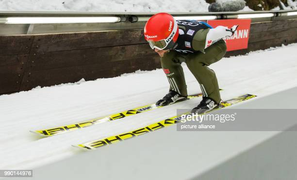 Markus Eisenbichler from Germany in action during the trial round at the Four Hills Tournament in Bischofshofen Austria 5 January 2018 Photo Daniel...