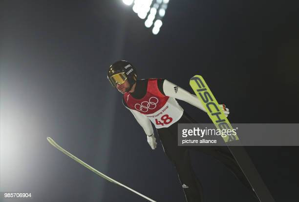Markus Eisenbichler from Germany jumps during the qualification round at the Alpensia Ski Jumping Centre in Pyeongchang South Korea 8 February 2018...