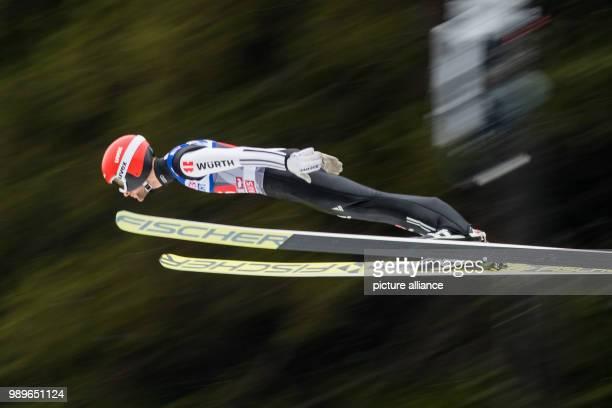 Markus Eisenbichler from Germany performs his trial jump at the Four Hills Tournament in Innsbruck Austria 4 January 2018 Photo Daniel Karmann/dpa