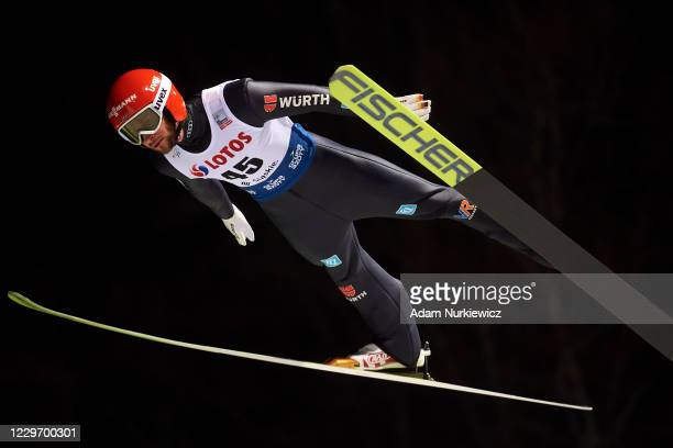 Markus Eisenbichler from Germany soars in the air during Men's HS134 qualifying for the FIS Ski Jumping World Cup Wisla on November 20, 2020 in...