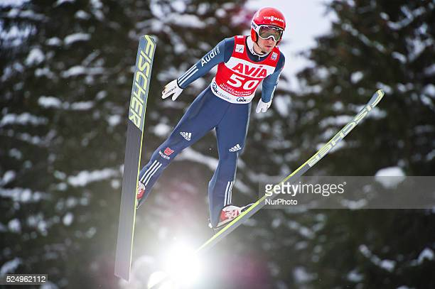 Markus Eisenbichler in flight during the Large Hill Individual competition on day two of the FIS Ski Jumping World Cup on February 8 2015 in Titisee...
