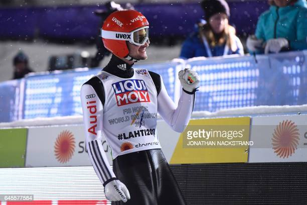 Markus Eisenbichler of Germany celebrates after his jump during the ski jumping mixed normal hill team competition of the 2017 FIS Nordic World Ski...