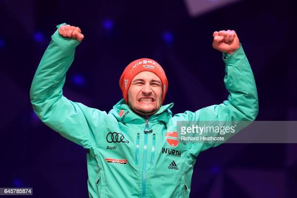 Markus Eisenbichler of Germany celebrates winning bronze in the Men's Ski Jumping HS100 Final during the FIS Nordic World Ski Championships on...