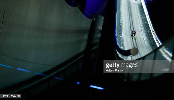 Markus Eisenbichler of Germany competes during the Competition at the Four Hills Tournament 2020 Oberstdorf at on December 29, 2020 in Oberstdorf,...