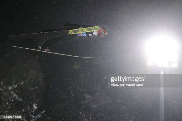 Markus Eisenbichler of Germany competes during the first round on day 8 of the 67th FIS Nordic World Cup Four Hills Tournament ski jumping event at...