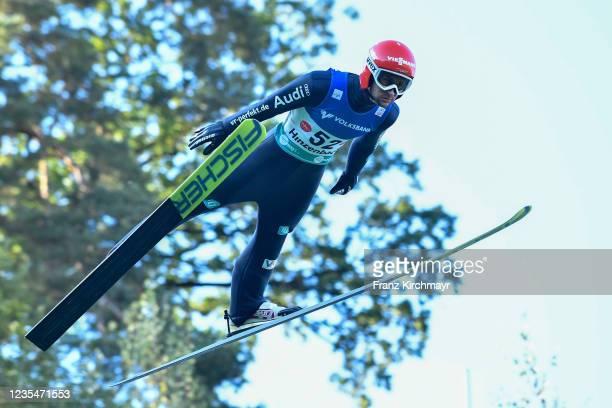 Markus Eisenbichler of Germany competes during the FIS Grand Prix Skijumping Hinzenbach at on February 6, 2021 in Eferding, Austria.