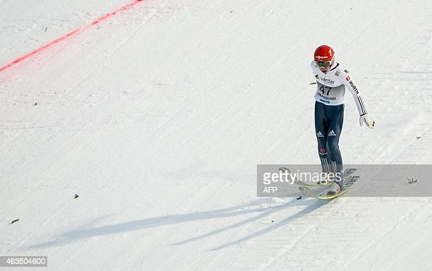 Markus Eisenbichler of Germany competes in the FIS Ski Jumping World Cup Flying Hill individual competition in Vikersund Norway on February 15 2015...