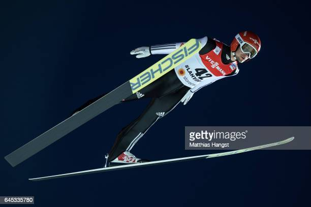 Markus Eisenbichler of Germany competes in the Men's Ski Jumping HS100 Final during the FIS Nordic World Ski Championships on February 25 2017 in...