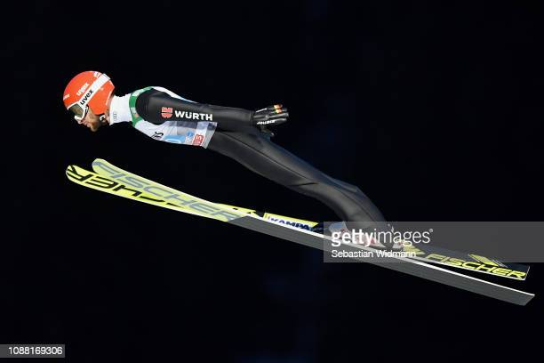 Markus Eisenbichler of Germany competes on day 2 of the 67th FIS Nordic World Cup Four Hills Tournament ski jumping event on December 30 2018 in...