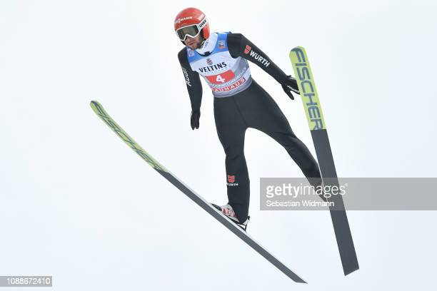Markus Eisenbichler of Germany competes on day 4 of the 67th FIS Nordic World Cup Four Hills Tournament ski jumping event on January 01, 2019 in...