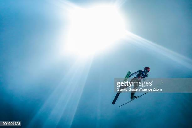 Markus Eisenbichler of Germany in action during the FIS Nordic World Cup Four Hills Tournament on January 6 2018 in Bischofshofen Austria