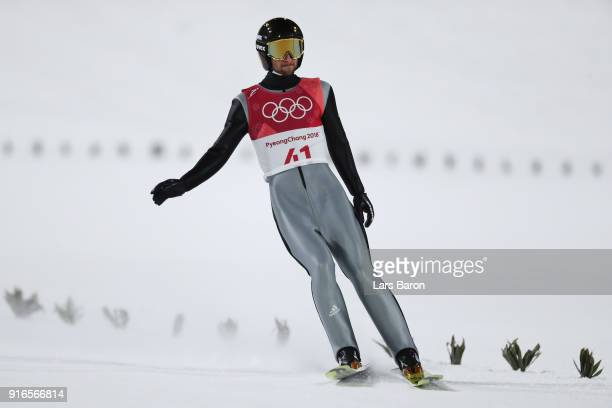 Markus Eisenbichler of Germany reacts after landing a jump during the Ski Jumping Men's Normal Hill Individual Final on day one of the PyeongChang...