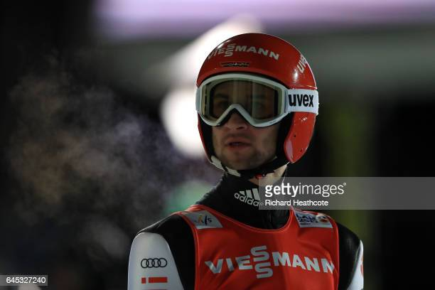 Markus Eisenbichler of Germany reacts to his last jump during the Men's Ski Jumping HS100 at the FIS Nordic World Ski Championships on February 25...