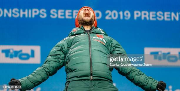 Markus Eisenbichler of Germany takes 1st place during the FIS Nordic World Ski Championships Men's Ski Jumping HS130 on February 23 2019 in Seefeld...