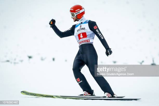 Markus Eisenbichler of Germany takes 2nd place during the FIS Nordic World Cup Four Hills Tournament on January 1 2019 in GarmischPartenkirchen...