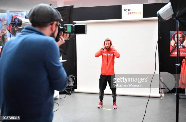 Markus Eisenbichler poses for a photographer during the 2018 PyeongChang Olympic Games German Team kit handover at Postpalast on January 22 2018 in...