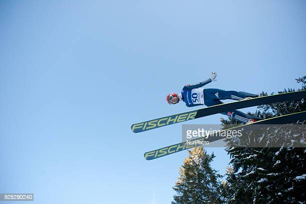 Markus Eisenbichler takes off during the Large Hill Individual competition on day one of the FIS Ski Jumping World Cup on February 7 2015 in Titisee...