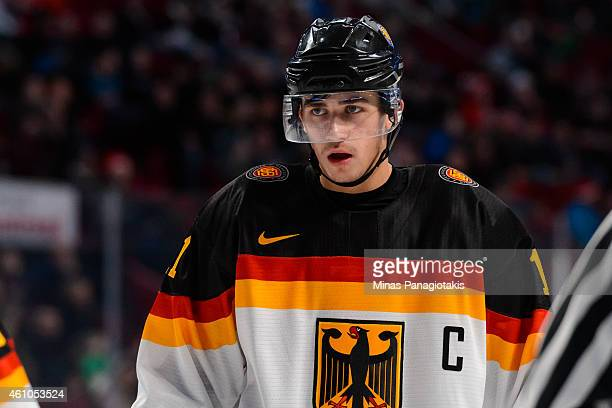 Markus Eisenschmid of Team Germany looks on prior to a face-off during the 2015 IIHF World Junior Hockey Championship game against Team Slovakia at...