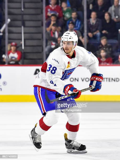 Markus Eisenschmid of the Laval Rocket skates against the Binghamton Devils during the AHL game at Place Bell on October 13 2017 in Laval Quebec...
