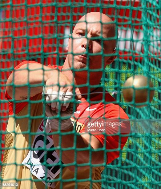 Markus Esser of Germany competes during the hammer throw at day one of the Spar European Team Championship at the Estadio Municipal DrMagalhaes...