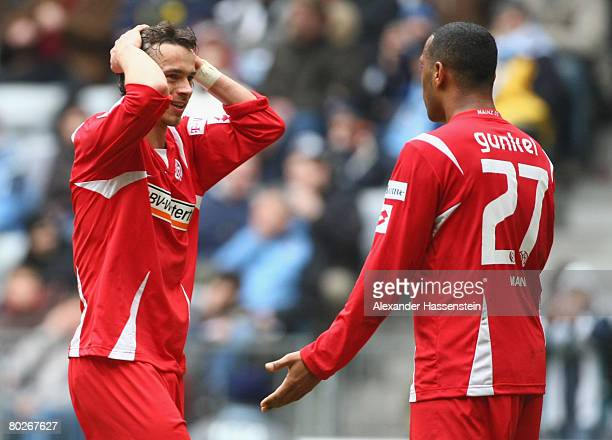 Markus Feulner and his team mate Daniel Gunkel of Mainz react during the Second Bundesliga match between 1860 Munich and FSV Mainz 05 at the Allianz...