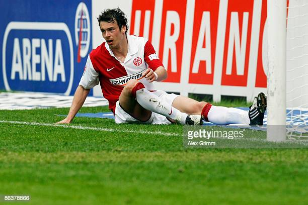 "Markus Feulner of Mainz gets up after a fall during the second Bundesliga match between FSV Mainz 05 and TuS Koblenz at the ""Am Bruchweg"" stadium on..."