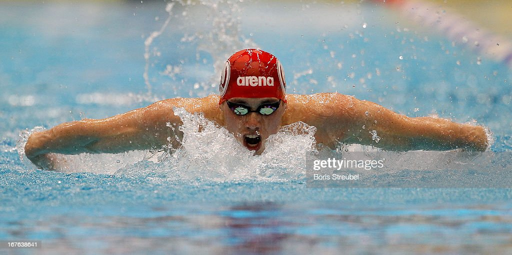 Markus Gierke of W98 Hannover competes in the men's 200m butterfly heat duringg day two of the German Swimming Championship 2013 at the Eurosportpark on April 27, 2013 in Berlin, Germany.