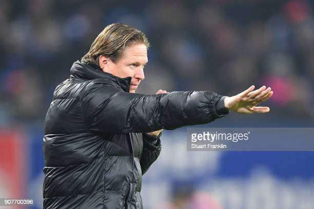 Markus Gisdol, coach of Hamburg, gestures during the Bundesliga match between Hamburger SV and 1. FC Koeln at Volksparkstadion on January 20, 2018 in...