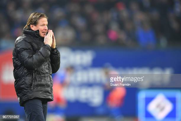 Markus Gisdol coach of Hamburg gestures during the Bundesliga match between Hamburger SV and 1 FC Koeln at Volksparkstadion on January 20 2018 in...