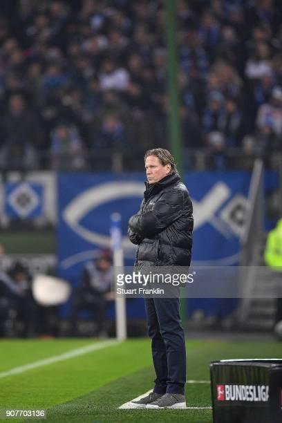 Markus Gisdol coach of Hamburg stands on the sideline during the Bundesliga match between Hamburger SV and 1 FC Koeln at Volksparkstadion on January...