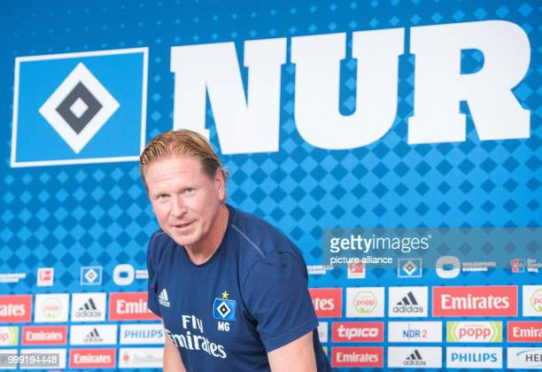 Markus Gisdol coach of the soccer club Hamburger SV is speaking at a press conference ahead of the start of the new bundesliga season in Hamburg...