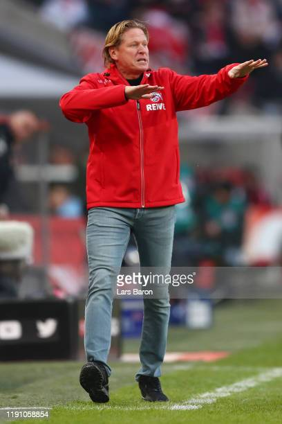 Markus Gisdol, Head Coach of 1. FC Koeln reacts during the Bundesliga match between 1. FC Koeln and FC Augsburg at RheinEnergieStadion on November...