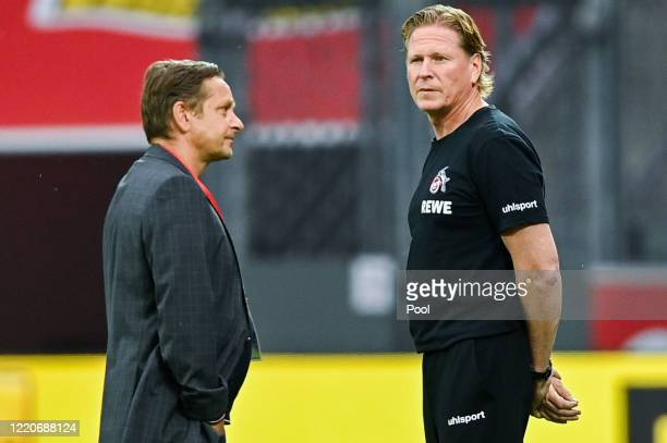 Markus Gisdol, Head Coach of FC Koeln and Horst Heldt, Sports Director of FC Koeln prior to the Bundesliga match between Bayer 04 Leverkusen and 1....