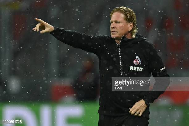 Markus Gisdol, Head Coach of FC Koeln reacts during the Bundesliga match between Bayer 04 Leverkusen and 1. FC Koeln at BayArena on June 17, 2020 in...