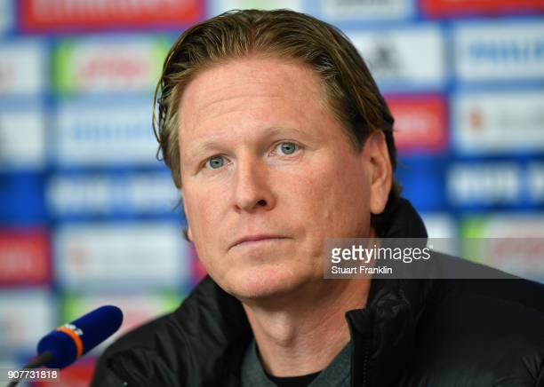 Markus Gisdol, head coach of Hamburg looks on during the press conference after the Bundesliga match between Hamburger SV and 1. FC Koeln at...