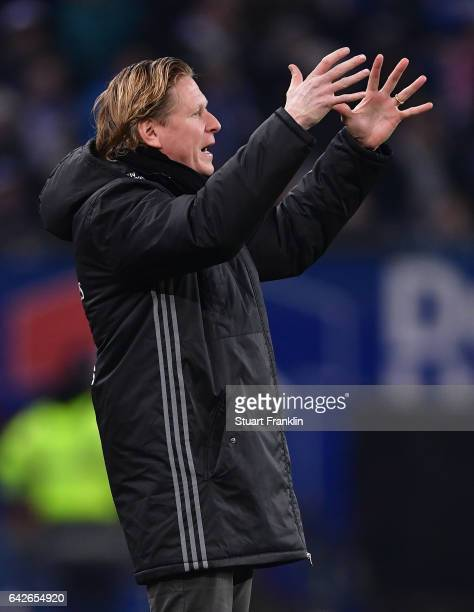 Markus Gisdol, head coach of Hamburg reacts during the Bundesliga match between Hamburger SV and SC Freiburg at Volksparkstadion on February 18, 2017...