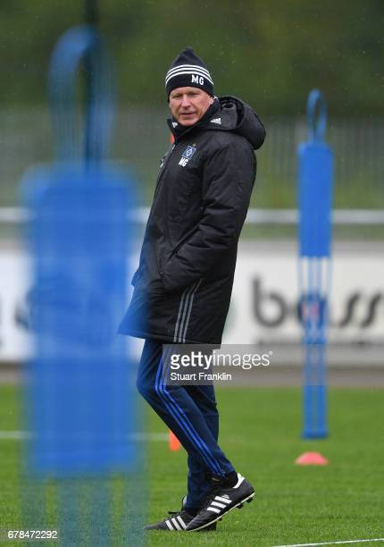 Markus Gisdol, Head coach of Hamburger SV looks on during a training session of Hamburger SV on May 4, 2017 in Rotenburg an der Wuemme, Germany.